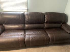 Power Reclining Faux Leather Couch